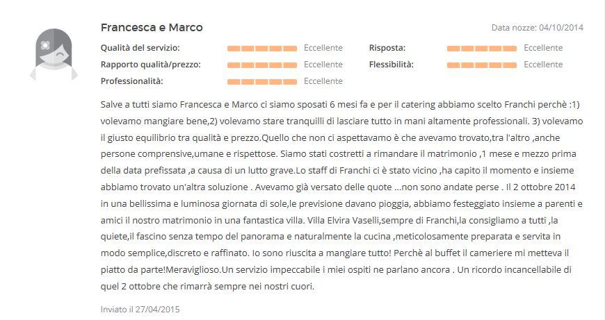 Recensione Francesca e Marco